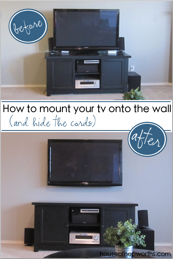How To Mount Your Tv Onto The Wall And Hide The Cords Www.houseofhepworths.