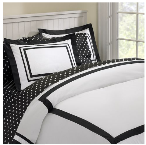 I also found the cutest sheet set at PotteryBarn Teen to go along with the  black and white duvet. I love how the sheets are crisp and white with a  stripe of ...