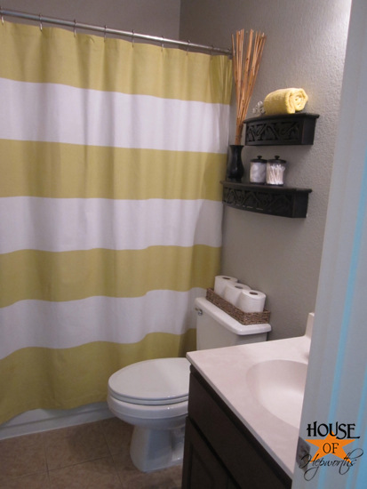 gold and white striped shower curtain. But once it arrived in the mail I wasn t thrilled with color  thought would be a bright yellow not citron Fourth times charm shower curtains