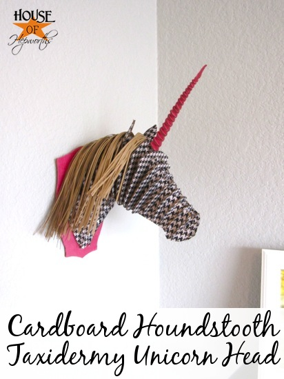 Cardboard houndstooth taxidermy unicorn head for Free cardboard taxidermy templates