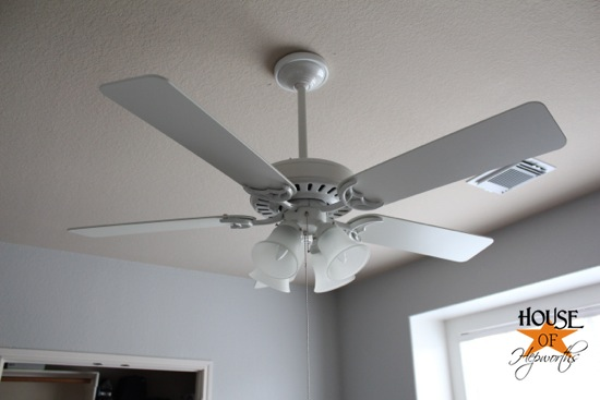 Our quest for cool air putting up ceiling fans we ended up going with the hunter 52 studio series white ceiling fan from amazon we bought 3 one for each kids room and the third for bens office mozeypictures Gallery