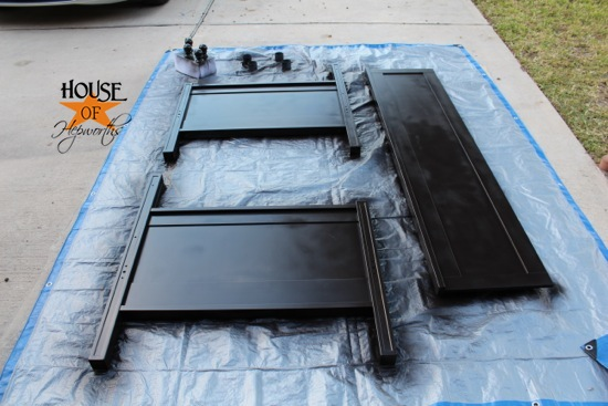 each bed piece got several thin even coats and plenty of dry time. Black Bedroom Furniture Sets. Home Design Ideas