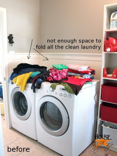 Adding More Functional Space In The Laundry Room Storage Shelf And Clothing Rod