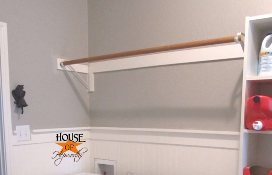 Wall Shelf With Hanging Rod adding more functional space in the laundry room (storage shelf