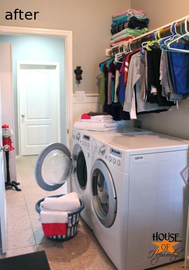 adding more functional space in the laundry room storage shelf and clothing rod. Black Bedroom Furniture Sets. Home Design Ideas
