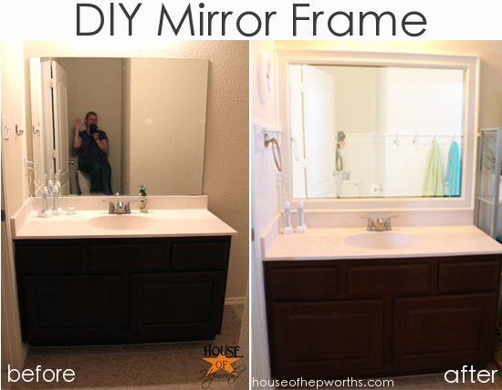 Framing A Bathroom Mirror Before And After the kids' bathroom mirror gets framed