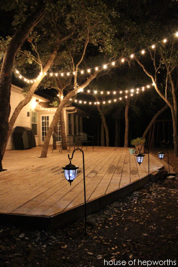 I Added A Few Strands Of String Lights And Trio Lanterns To Create This Custom Outdoor Lighting Its An Instant Party In Our Backyard Now