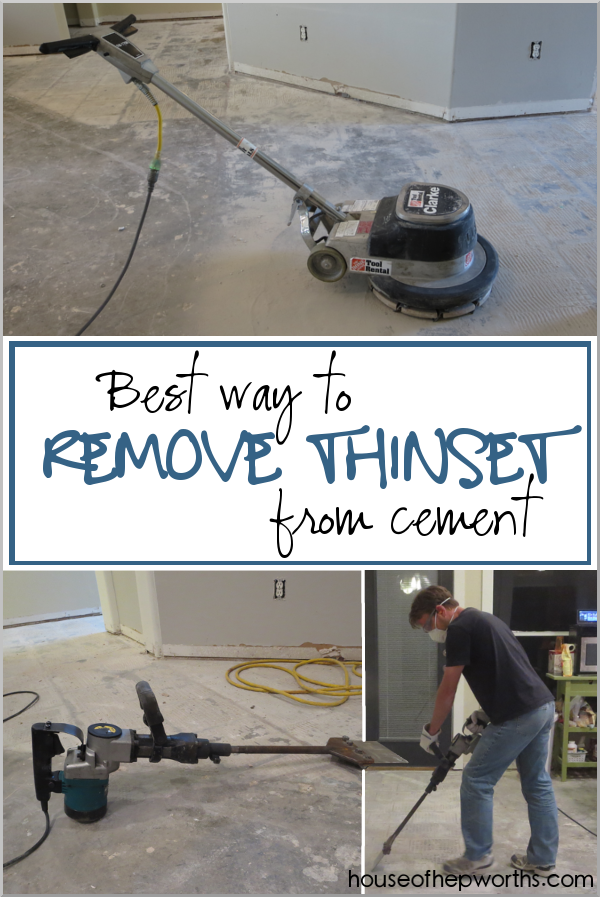 How to remove Thinset from a cement foundation www.houseofhepworths.com