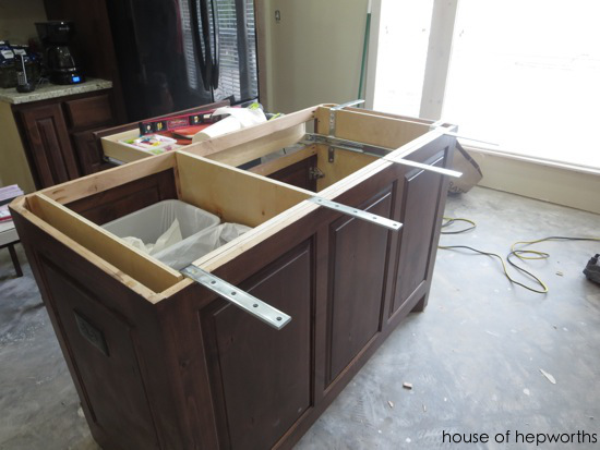 The making of a kitchen island for How to support granite countertop overhang