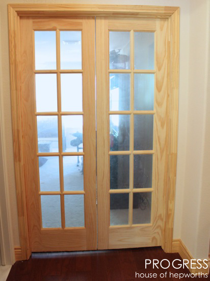 Widening a single door to glass panel french doors for Single glass french door