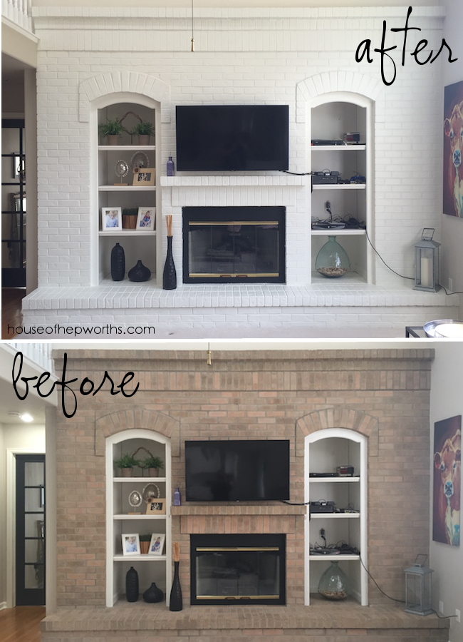 stunning fireplace makeover with paint. Black Bedroom Furniture Sets. Home Design Ideas