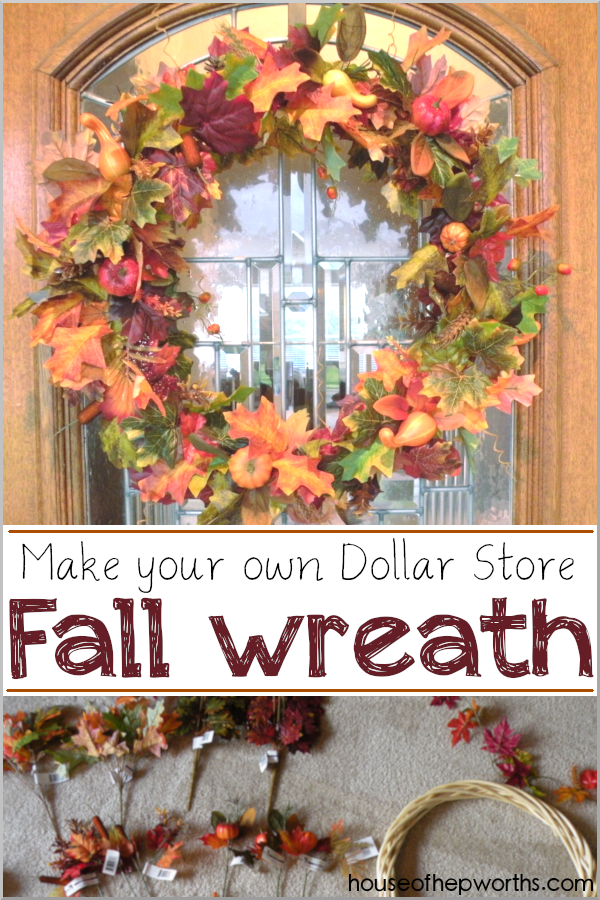 Make your own Fall Wreath using items from the dollar store! Easy tutorial at www.houseofhepworths.com