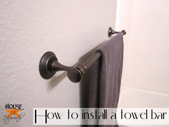 How to install a towel bar.  www.houseofhepworths.com #target #diy #tutorial #towel