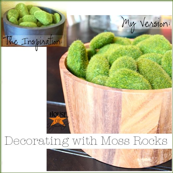 Decorated Model Homes: Recreating Model Home Decor {decorative Moss Rocks