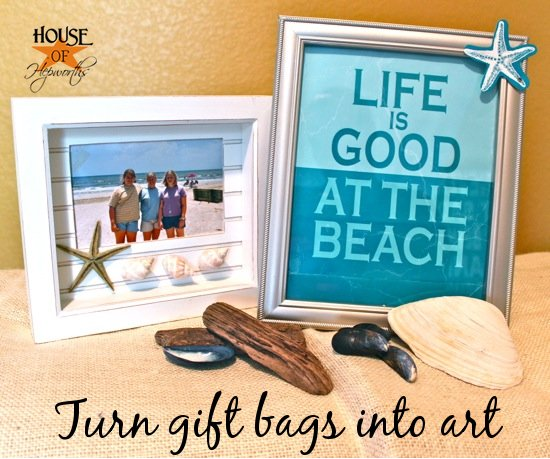 Turn gift bags into {cheap} art - House of Hepworths