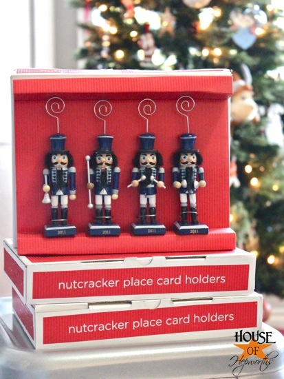 last year after christmas i found these 4 packs of place card holder nutcrackers on mega clearance like 90 off at target