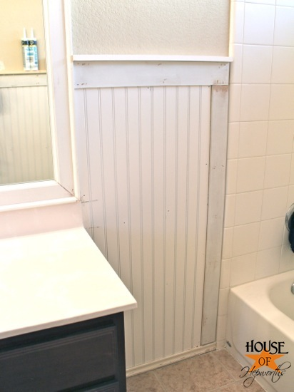 Kids Bathroom Makeover Phase 1 Hanging Beadboard And