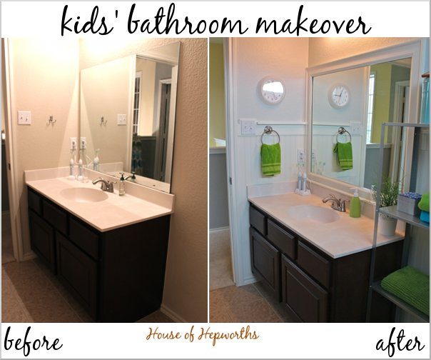Win Bathroom Makeover: Check Out The Kids' Teal And Grass Green Bathroom Makeover