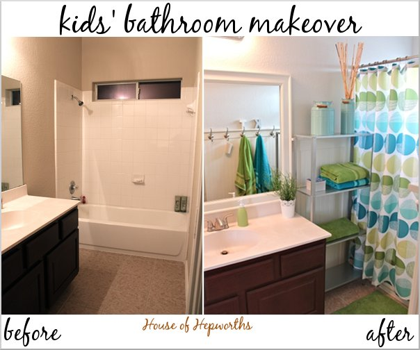 kids bathroom makeover check out the teal and grass green bathroom makeover 13334