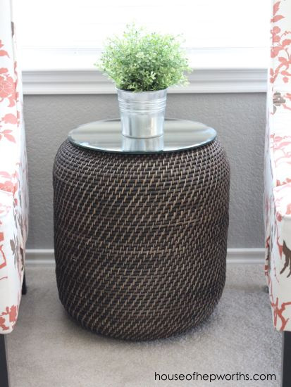 But what a waste of all that storage space inside. So I flipped it right- side-up again and purchased a round piece of glass intended for candles. & A side table basket with tons of storage - House of Hepworths