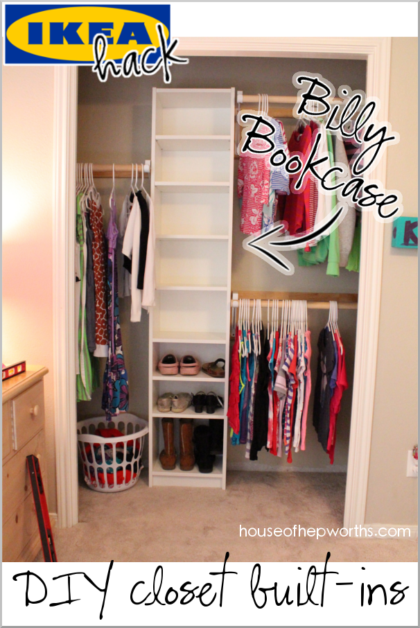 Use an IKEA Billy bookshelf in a closet for a custom built-in look with extra storage. See the full tutorial on www.houseofhepworths.com