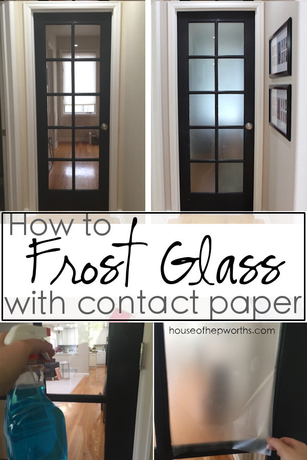 How to FROST GLASS with contact paper. Looks great and is removable. Tutorial at www.houseofhepworths.com