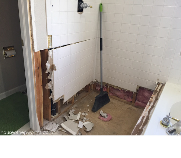 Master Bath Reno || removing tile, capping plumbing - House of Hepworths