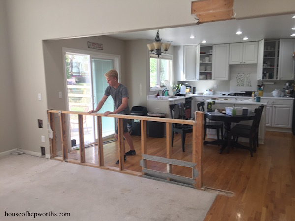 How To Decorate A Half Wall: Tearing Out A Half-wall Between Kitchen And Family Rooms
