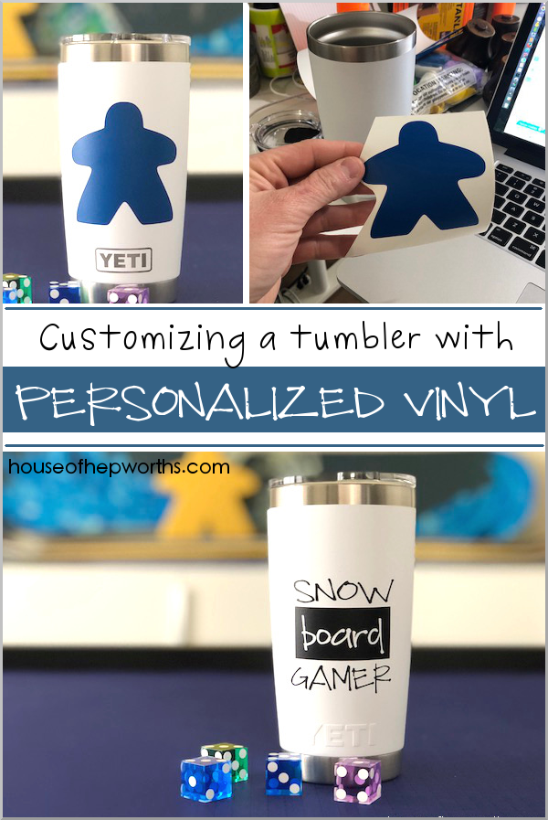 Personalize a YETI tumbler with custom vinyl from a Silhouette or Cricut. Tutorial at www.houseofhepworths.com