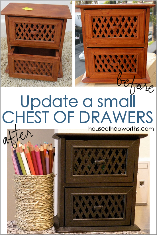 Update a thrift store mini Chest of Drawers with spray paint. www.houseofhepworths.com