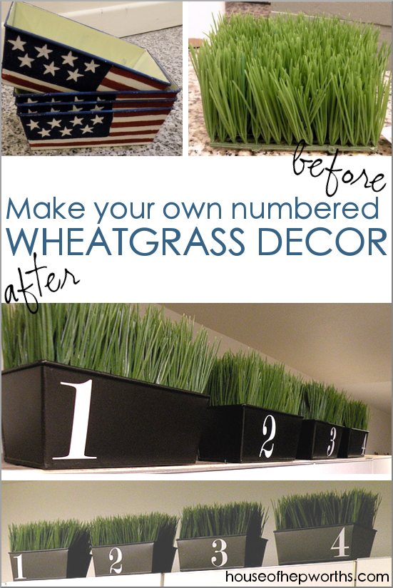 DIY Wheatgrass numbered containers made from thrift store items. www.houseofhepworths.com