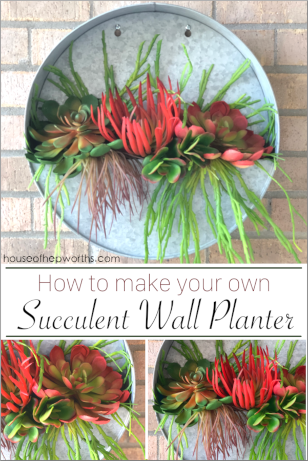 Succulent Planter Round Metal Wall Hanging