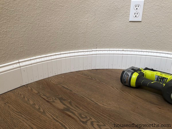 Bend a baseboard on a curved wall